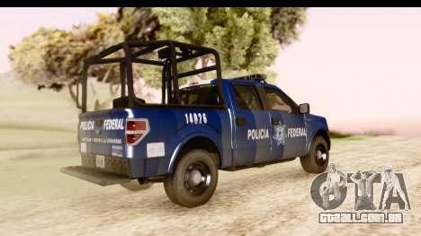 Ford F-150 Policia Federal para GTA San Andreas traseira esquerda vista