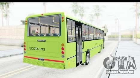 Bus La Favorita Ecotrans para GTA San Andreas esquerda vista
