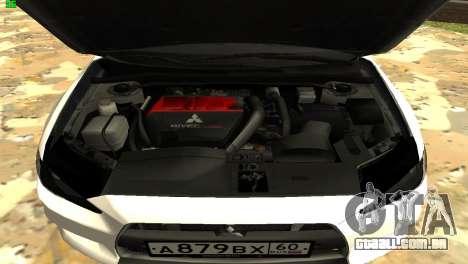 Mitsubishi Lancer X GVR para GTA San Andreas vista interior