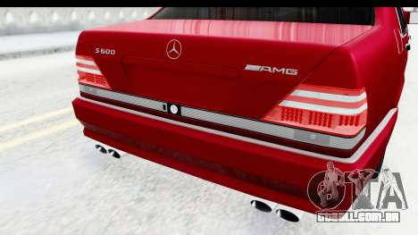 Mercedes-Benz W140 S600 AMG para vista lateral GTA San Andreas