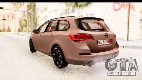 Opel Astra J Tourer para GTA San Andreas traseira esquerda vista