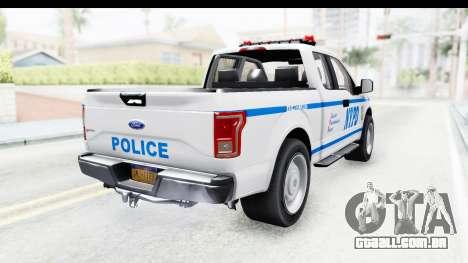 Ford F-150 Police New York para GTA San Andreas traseira esquerda vista