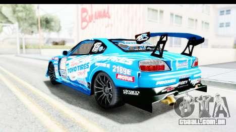 Nissan Silvia S15 D1GP Blue Toyo Tires para GTA San Andreas esquerda vista