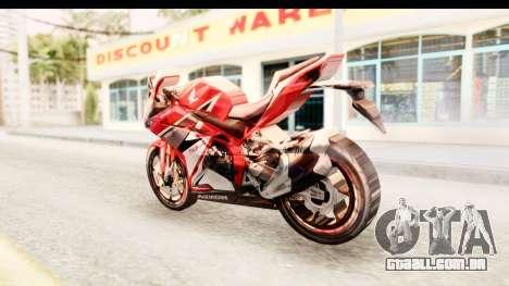 Honda CBR250RR para GTA San Andreas esquerda vista
