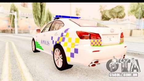 Lexus IS F PDRM para GTA San Andreas traseira esquerda vista