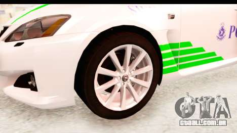 Lexus IS F PDRM para GTA San Andreas vista traseira