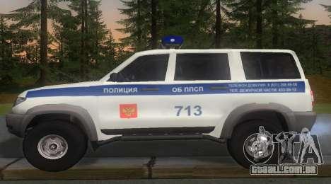 UAZ Patriota da Polícia v1 para GTA San Andreas esquerda vista