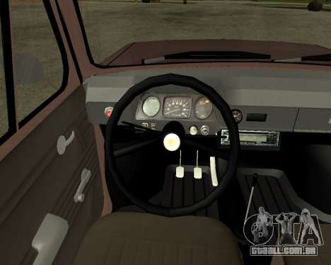 ZAZ 968M Arménia para vista lateral GTA San Andreas