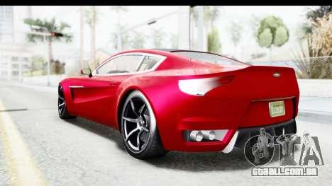 GTA 5 Dewbauchee Seven 70 IVF para GTA San Andreas esquerda vista