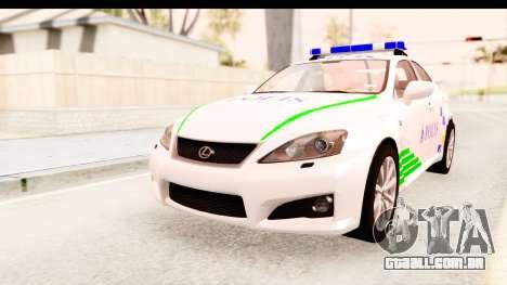 Lexus IS F PDRM para GTA San Andreas vista direita