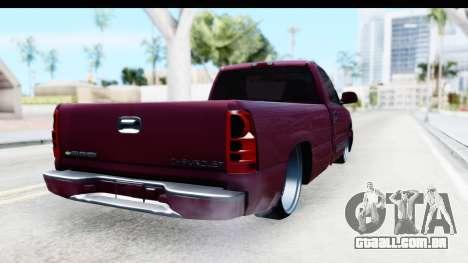 Chevrolet Silverado 2005 Low para GTA San Andreas traseira esquerda vista