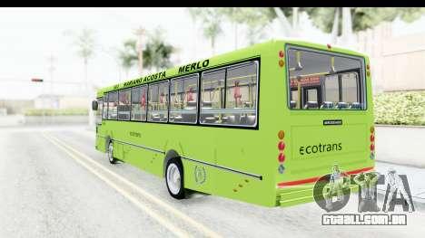 Bus La Favorita Ecotrans para GTA San Andreas vista direita