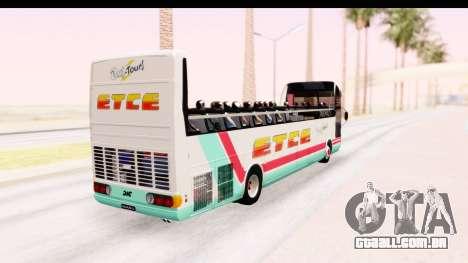 Bus Tours Dic Megadic 4x2 ETCE para GTA San Andreas traseira esquerda vista