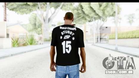 Stussy Black T-Shirt para GTA San Andreas segunda tela