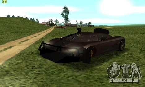Koenigsegg Agera para GTA San Andreas vista direita