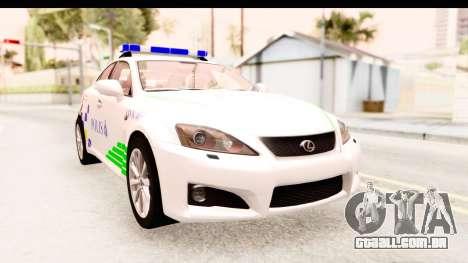 Lexus IS F PDRM para GTA San Andreas