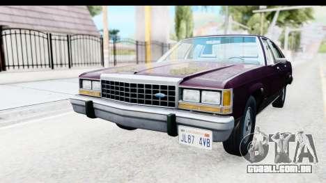 Ford LTD Crown Victoria 1987 para GTA San Andreas traseira esquerda vista