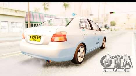 Toyota Vios 2008 Taxi Blue Bird para GTA San Andreas traseira esquerda vista
