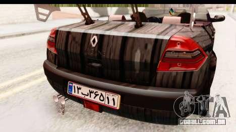 Renault Megane Spyder Full Tuning v2 para GTA San Andreas vista inferior