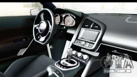 Audi R8 V10 Plus 5.2 FSi 2013 LB Perfomance para GTA San Andreas vista interior