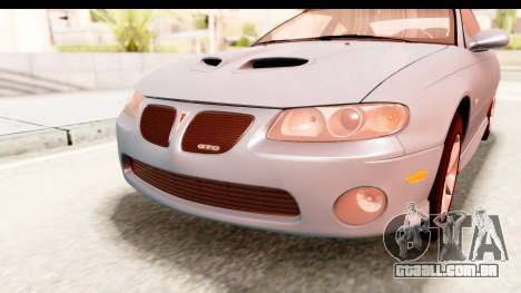 Pontiac GTO 2006 para vista lateral GTA San Andreas