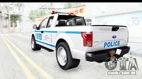 Ford F-150 Police New York para GTA San Andreas esquerda vista