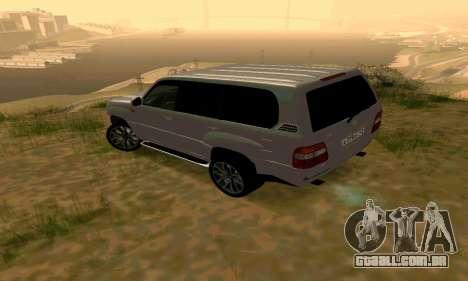 Toyota Land Cruiser 100 para GTA San Andreas traseira esquerda vista