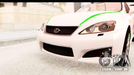 Lexus IS F PDRM para GTA San Andreas vista superior