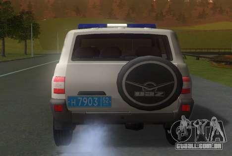 UAZ Patriota da Polícia v1 para GTA San Andreas traseira esquerda vista