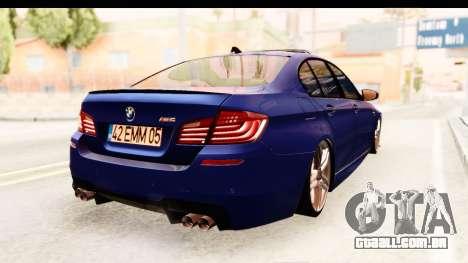 BMW M5 F10 para GTA San Andreas esquerda vista