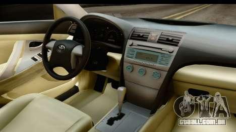 Toyota Camry GL 2011 para GTA San Andreas vista interior