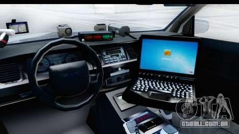 Ford Crown Victoria 2009 Southern Justice para GTA San Andreas vista interior