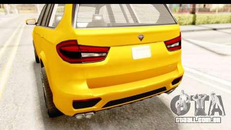 GTA 5 Benefactor XLS IVF para GTA San Andreas vista superior