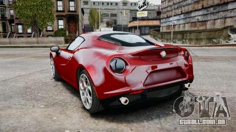 Alfa Romeo 4C 2016 para GTA 4 vista direita