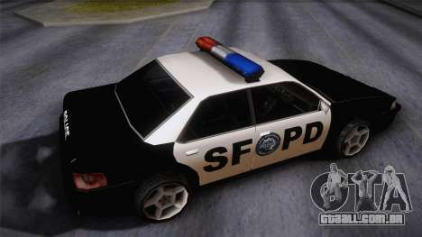 Sultan SFPD para GTA San Andreas traseira esquerda vista