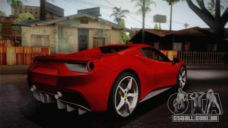 Ferrari 488 Spider para GTA San Andreas esquerda vista