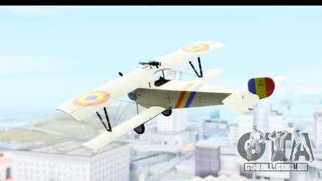 Nieuport 11 Bebe - Nr.865 Romania para GTA San Andreas esquerda vista