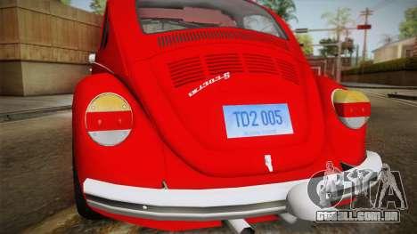 Volkswagen Beetle Escarabajo para GTA San Andreas vista direita