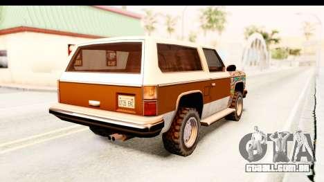Rancher Sticker Bomb para GTA San Andreas traseira esquerda vista