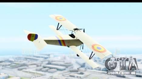 Nieuport 11 Bebe - Nr.865 Romania para GTA San Andreas vista direita