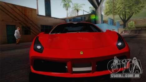 Ferrari 488 Spider para GTA San Andreas traseira esquerda vista