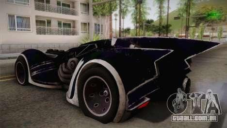 Batman Arkham Asylum Batmobile para GTA San Andreas esquerda vista
