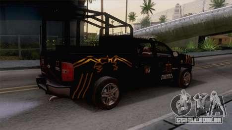 Chevrolet Silverado de la Fuerza Coahuila para GTA San Andreas traseira esquerda vista