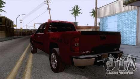 GMC Sierra 2015 para GTA San Andreas traseira esquerda vista