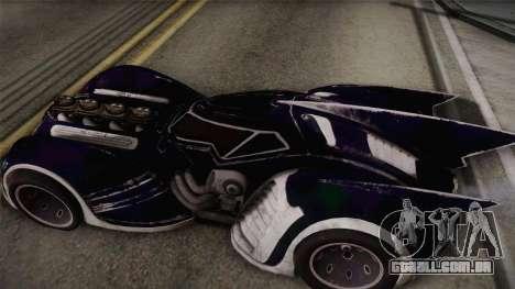 Batman Arkham Asylum Batmobile para GTA San Andreas traseira esquerda vista
