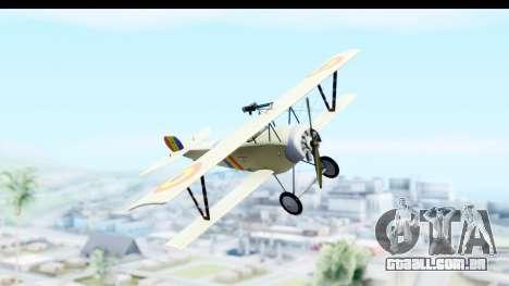Nieuport 11 Bebe - Nr.865 Romania para GTA San Andreas traseira esquerda vista