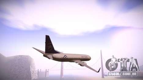 Boeing 737-800 Korean Air Skyteam para GTA San Andreas traseira esquerda vista