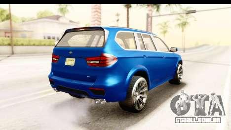 GTA 5 Benefactor XLS para GTA San Andreas esquerda vista