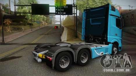 Mercedes-Benz Actros Mp4 6x4 v2.0 Gigaspace v2 para GTA San Andreas esquerda vista