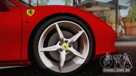 Ferrari 488 Spider para GTA San Andreas vista traseira